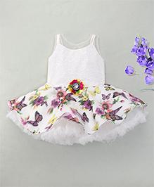 Eiora Elegant Sleeveless Party Dress - White & Purple