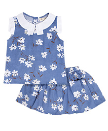 Cubmarks Set Of Floral Printed Top & Skirt - Blue & White