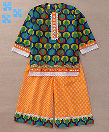 Sorbet Printed Kurti & Pants With Lace Yolk & Border - Blue