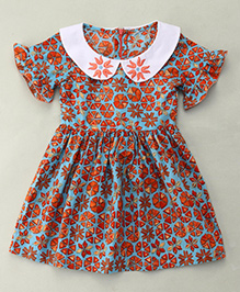 Sorbet Printed Dress With Embroidered Collar - Blue