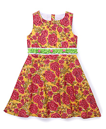 Sorbet Printed Dress With Roses & Ribbons - Yellow