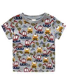Pre Order - Awabox Train Bus Abstract Print T-Shirt - Grey