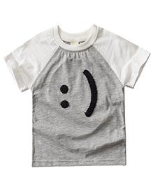 Pre Order - Awabox Smile Happy Print T-Shirt - Grey