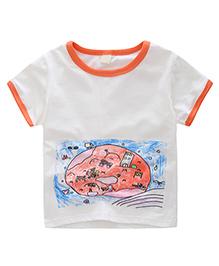 Pre Order - Awabox Crayon Paint Print T-Shirt - White & Orange
