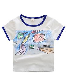 Pre Order - Awabox Crayon Paint Print T-Shirt - White & Blue