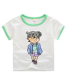 Pre Order - Awabox Crayon Paint Print T-Shirt - White & Green