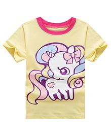 Pre Order - Awabox Unicorn Print T-Shirt - Yellow