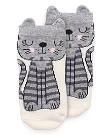 Mustang Anti Skid Socks Animal Design - Off White And Grey