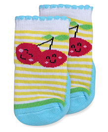 Mustang Anti Skid Fruit Design With Stripes Socks - White Yellow