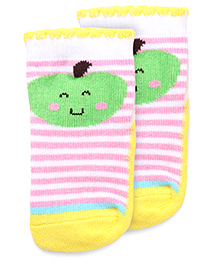 Mustang Anti Skid Fruit Design With Stripes Socks - Pink Yellow