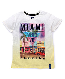 Vitamins Half Sleeves T-Shirt Miami Print - Light Yellow And White