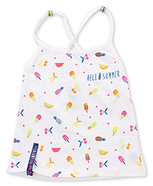 Vitamins Singlet Top Fruits And Ice-cream Print - Off White