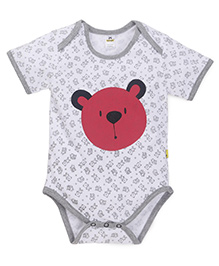Tiny Bee Teddy Print Boys Onesie - White