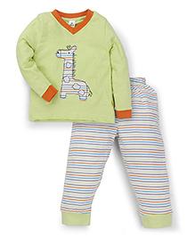 Tiny Bee V Neck Tee & Striped Pajama Set - Green