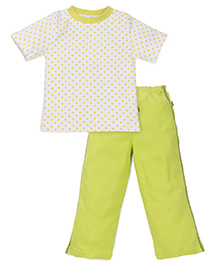 Tiny Bee Boys Crew Neck Tee & Pyjama - White & Green