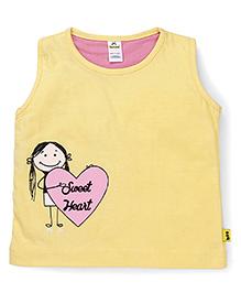 Tiny Bee Girl With Sweet Heart Print  Muscle Tee - Yellow