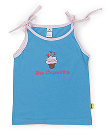 Tiny Bee Am Cupcake Print Spaghetti Top - Turquoise