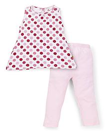 Tiny Bee Girls Sleeveless Top & Plain Leggings - Pink