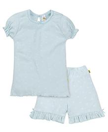 Tiny Bee Girls Frill Top & Shorts Set - Blue