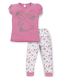 Tiny Bee Girls Rabbit Print Top & Pajama Set - Pink & White