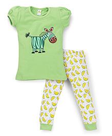 Tiny Bee Girls Cuff Pajama Set - Green & White