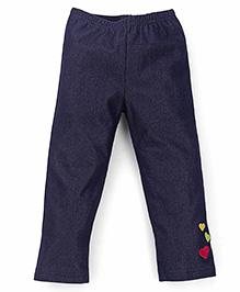 Tiny Bee Girls Heart Design Leggings - Blue