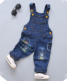 Pre Order - Superfie Multi Pocket & Teddy Patch Dungaree - Blue