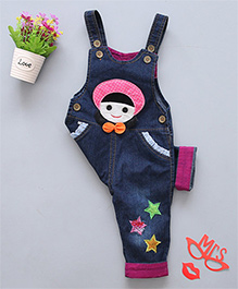 Pre Order - Superfie Cute Girl & Star Patch Dungaree - Blue