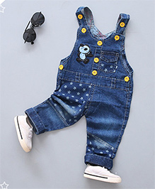 Pre Order - Superfie Star & Panda Patch Dungaree - Blue
