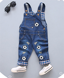 Pre Order - Superfie Football Patched Dungaree With Contrast Bottom - Blue