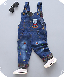 Pre Order - Superfie Cute Teddy Patch Dungaree With Contrast Border - Blue