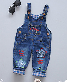 Pre Order - Superfie Star Patch Dungaree With Contrast Border - Blue