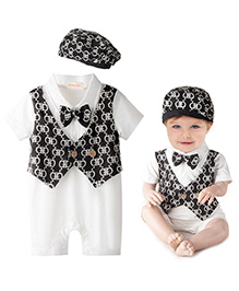 Pre Order - Adores Attached Vest Styled Printed Romper With A Cap - Black & White