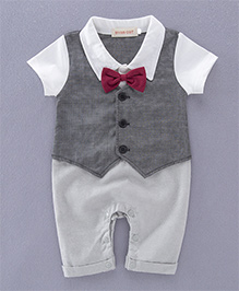 Pre Order - Adores Romper With A Frilled Bow - Grey