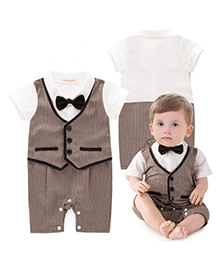 Pre Order - Adores Checks Printed Romper With A Bow - Brown