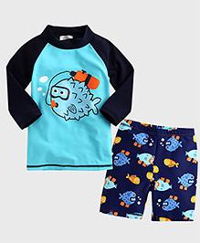 Pre Order - Awabox Fish Print Swimsuit Set - Blue