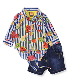Little Kangaroos Full Sleeves Printed Shirt Top And Shorts - Blue Yellow