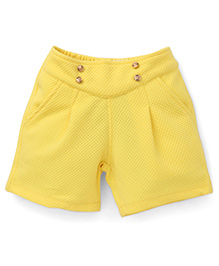 Little Kangaroos Shorts With Buttons Detailing - Yellow