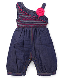 Little Kangaroos Jumpsuit With Floral Applique - Blue Pink