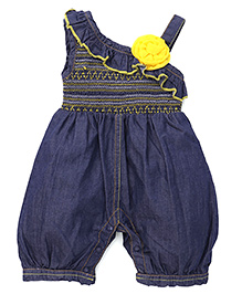 Little Kangaroos Jumpsuit With Floral Applique - Blue Yellow