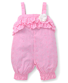 Little Kangaroos Hakoba Embroidered Jumpsuit With Floral Applique - Pink