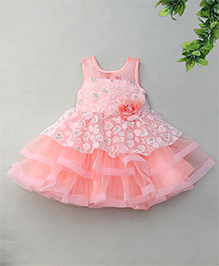 M'Princess Flower Design Party Dress - Peach