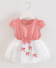 Pre Order - Dells World Checkered Multi Bow Applique Frill Dress - Red & White