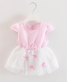 Pre Order - Dells World Checkered Multi Bow Applique Frill Dress - Pink & White