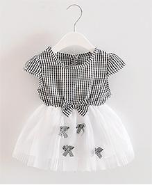 Pre Order - Dells World Checkered Multi Bow Applique Frill Dress - Black & White