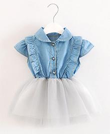 Pre Order - Dells World Denim Bodice Frill Dress - Blue & White