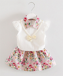 Pre Order - Dells World Floral Printed Collared Dress - Pink & White
