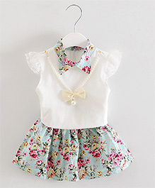 Pre Order - Dells World Floral Printed Collared Dress - Blue & White