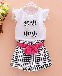 Pre Order - Dells World Set Of Frill Top With Contrast Bow Applique Checkered Shorts - Black & White