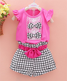 Pre Order - Dells World Set Of Frill Top With Contrast Bow Applique Checkered Shorts - Pink White & Black